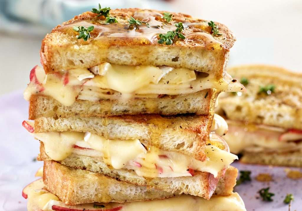 Apple Brie French Toast Sliced Portion stacked